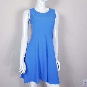 LOFT Fit and Flare Dress Blue Sleeveless Size 2